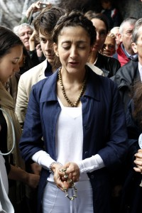 Betancourt prays at the Lourdes shrine in France in July 2008, a week after being freed. (AP Photo/Bob Edme)