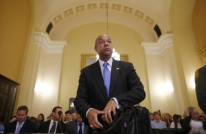 Homeland Security Secretary Jeh Johnson arrives to testify before the House Committee on Homeland Security on Capitol Hill in Washington about the growing problem of unaccompanied children crossing the border, June 24, 2014. i(AP Photo/Charles Dharapak, File)
