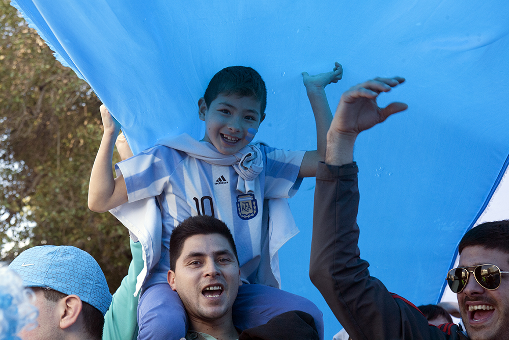 Children and adults alike in Buenos Aires dressed in Argentina's national colors and came out to support the team in Plaza San Martin. (Photo/Brittany Crocker)
