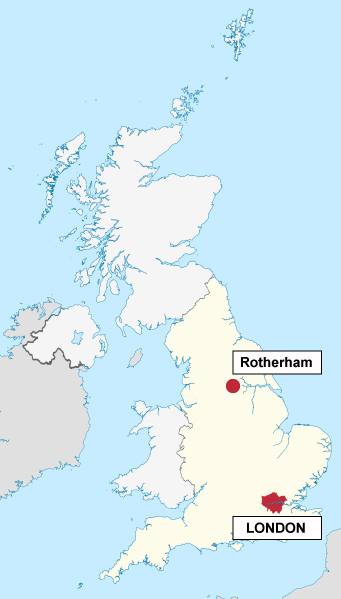 A map that shows London and Rotherham. Map credit: By Rob984 via Wikimedia Commons