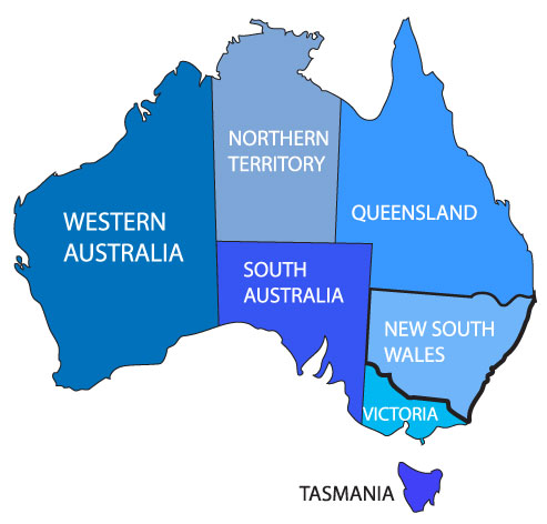 This map shows the seven states of Australia, including New South Wales. Produced by Celia Murray. Source: Vector Portal