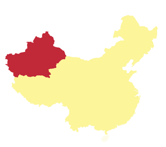 The Xinjiang Uighur Autonomous Region is in the north west of China, highlighted in red. Map credit: Wikipedia/TUBS
