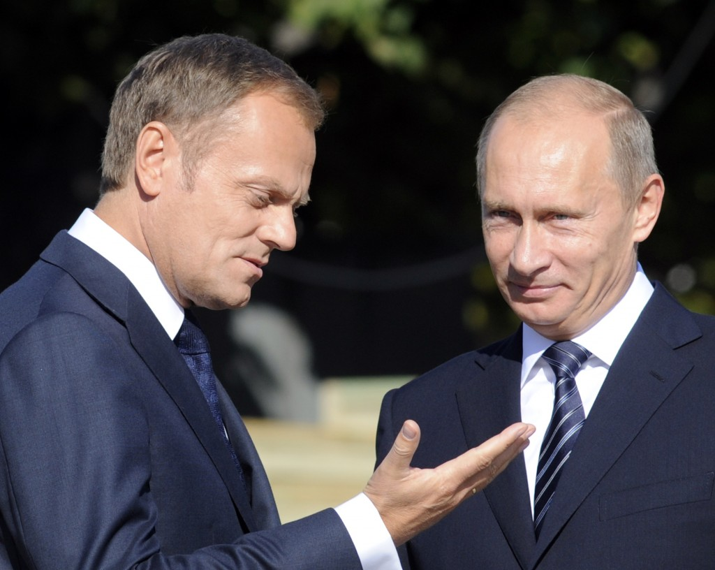 Russian Prime Minister Vladimir Putin, right, talks with his Polish counterpart Donald Tusk in Sopot, northern Poland, Sept. 1, 2009. (AP Photo/Alik Keplicz)