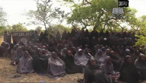 A May 2014 still from a video by Nigeria's Boko Haram terrorist network, shows the alleged missing girls abducted from the northeastern town of Chibok. (AP Photo/File)