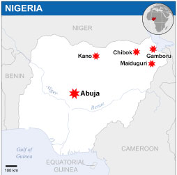 This maps shows the cities in Nigeria where major attacks have occurred, including the capital Abuja. Map credit: OCHA/ReliefWeb