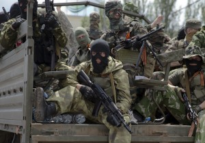 Pro-Russian gunmen on a truck in Donetsk, Ukraine on May 25, 2014. (AP Photo/Vadim Ghirda)