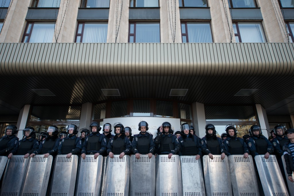 Police in anti-riot gear in the eastern city of Donetsk, Ukraine on March 23, 2014. (Romain Carre/NurPhoto/AP Images)