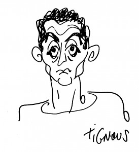 A caricature of cartoonist Damien Glez, by his slain colleague Tignous. (Courtesy Damien Glez)