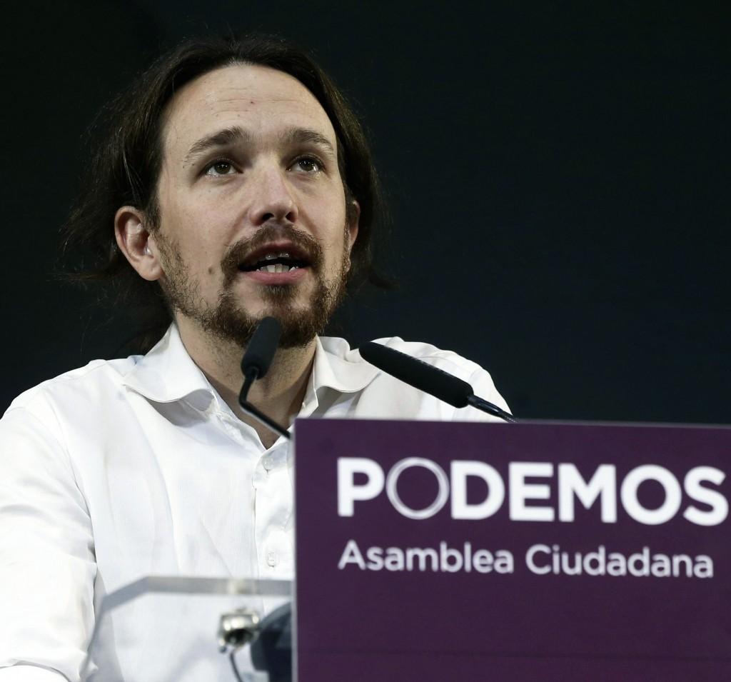 Secretary General of Spanish Podemos Party, Pablo Iglesias, delivers Madrid, Spain, Nov. 15, 2014. (EPA/Chema Moya)