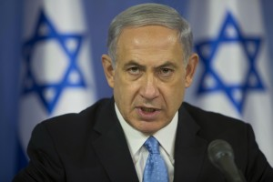 Israeli Prime Minister Benjamin Netanyahu speaks to the media at the defense ministry in Tel Aviv, Israel, Aug. 2, 2014. (AP Photo/Oded Balilty)