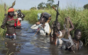 Rebel soldiers in South Sudan patrol and protect civilians from the Nuer ethnic group, Sept. 20, 2014 (AP Photo/Matthew Abbott)