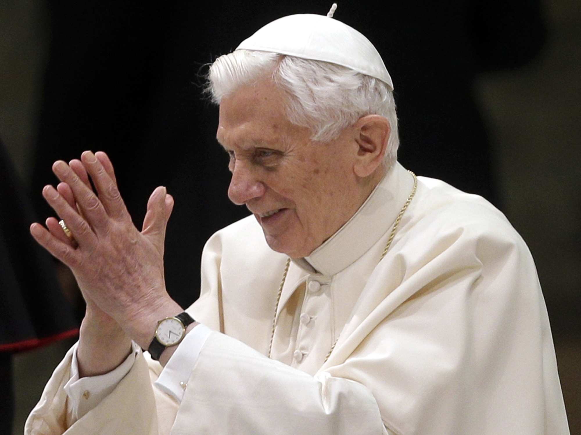 Pope Benedict XVI arrives for his weekly general audience Wednesday Feb. 13, 2013. (AP Photo/Alessandra Tarantino)