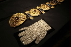 Michael Jackson's white crystal glove and moonwalker belt auctioned in 2009. (AP Photo/Mary Altaffer)