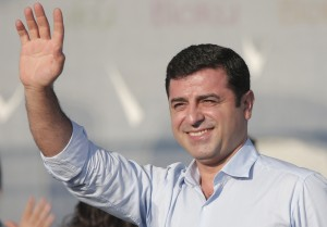 Selahattin Demirtas, leader of the pro-Kurdish HDP, in Istanbul, Aug. 9, 2015, (AP Photo/Lefteris Pitarakis)