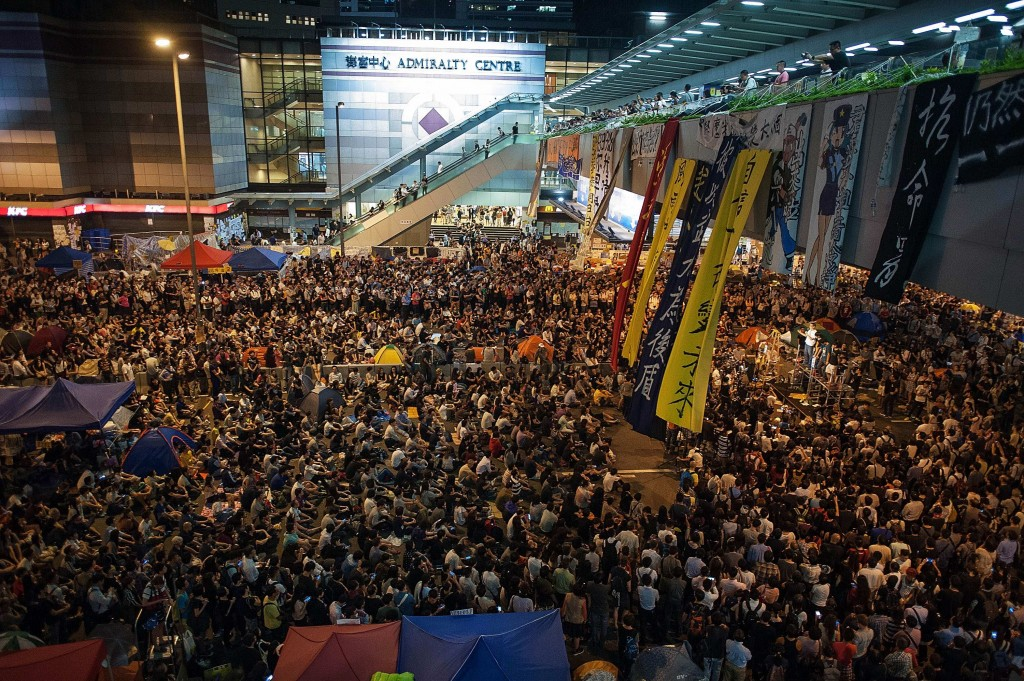 Pro-democracy protesters take part in a rally outside of Hong Kong Government Complex on October 13, 2014 in Hong Kong.