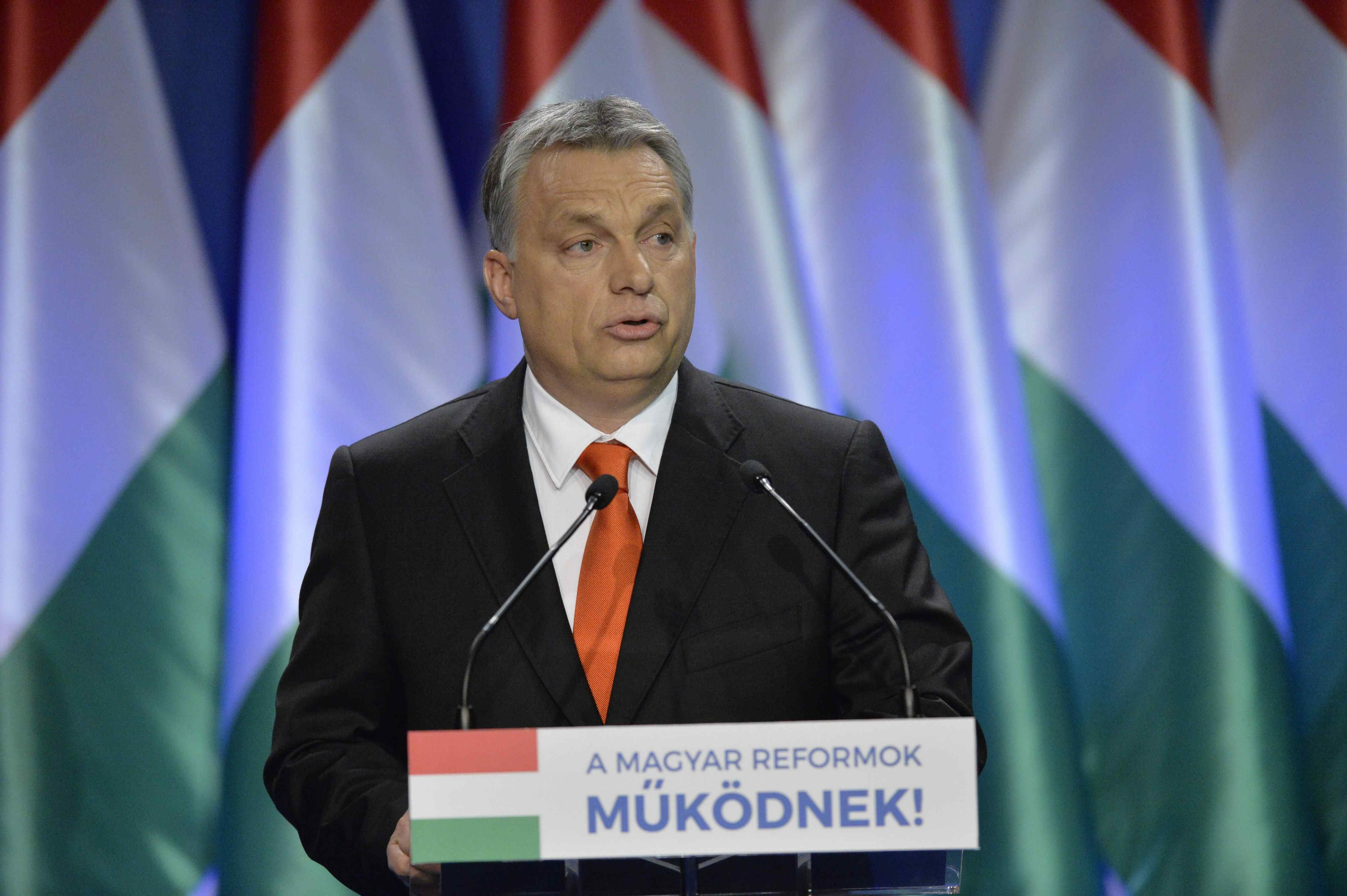 Hungarian Prime Minister Viktor Orban delivers his annual 'State of Hungary' speech in Budapest, February 28, 2016. (Szilard Koszticsak/MTI via AP)