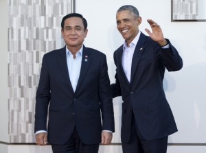 Thailand Prime Minister Prayuth Chan-ocha, left, led a military coup d'etat in 2014. (AP Photo/Pablo Martinez Monsivais)