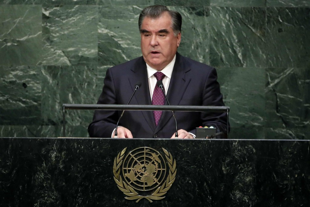 Tajik President Emomali Rahmon, pictured at UN headquarters in New York in 2015. Rahmon has been president of the central Asian nation since 1994. (AP Photo/Richard Drew)
