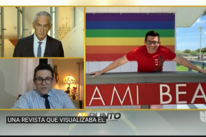"""Montage showing Jorge Ramos and Yariel Valdés in separate boxes along with a photo of Valdés before a gay pride rainbow flag and above a banner reading """"Miami Beach."""""""