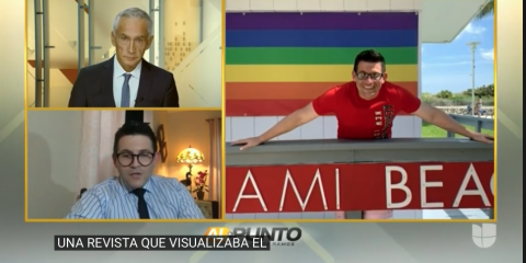 "Montage showing Jorge Ramos and Yariel Valdés in separate boxes along with a photo of Valdés before a gay pride rainbow flag and above a banner reading ""Miami Beach."""